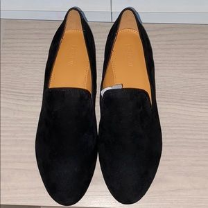 J crew black leather suede women's loafer